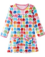 Toby Tiger Girls Organic Cotton Multi Elly Printed Long Sleeved Dress