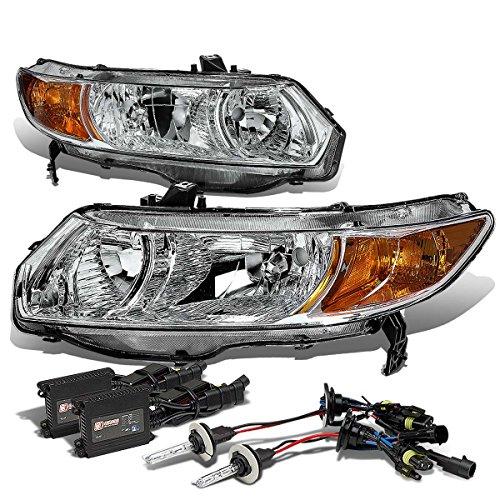 Honda Civic 8th Gen Coupe Chrome Housing Amber Corner Headlight+9006 HIDs 6,000K+Slim Ballasts (Fd2 Civic Fog Lights compare prices)