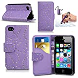 HTC One M8 (2014 Model) Diamond Bling Glitter PU Leather Integrated Stand Wallet Flip Case Cover in PURPLE with RETRACTABLE Capacitive Stylus Touch Screen Pen, Screen Protector and Polishing Cloth