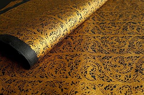 "Exotic Elegance 2 Sheet Gift Wrap Mulberry Paper Golden Thai ""Kankhot"" Painting On Black 31.5""X21.5"""
