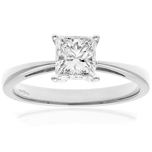 Naava Platinum Engagement Ring, J/I Certified Diamond, Princess Cut
