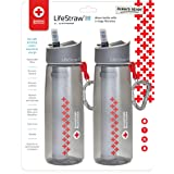 LifeStraw Go Water Filter Bottle with Integrated for Hiking, Backpacking & Travel, Red, One Size (Pack of 2) (Color: Red Cross (2-Pack), Tamaño: One Size)