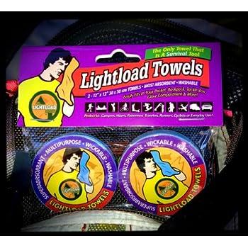 Lightload Towels- Serviettes 30x30cm (2 par Paquet) - La seule serviette pouvant également servir d'équipement de survie!