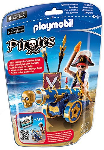 PLAYMOBIL Blue Interactive Cannon with Pirate Building Kit