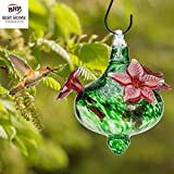 HUMMINGBIRD FEEDER - Hand-Blown Glass Feeders | Green Bouquet Cap w/ Red | Holds 16 ounces of Nectar | Bird Lovers | Best Reviews | LOVE our Feeders or 100% MONEY BACK GUARANTEE (by Best Home Products)