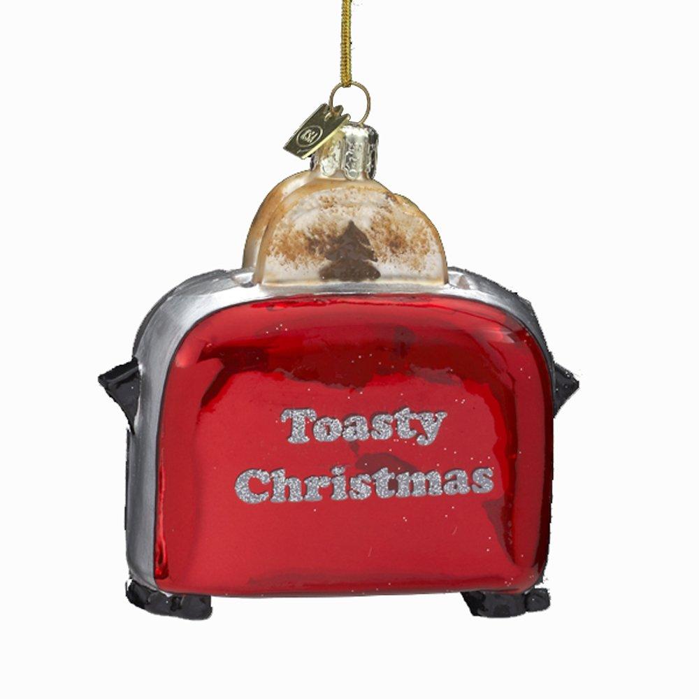 Kurt Adler 4-1/2-Inch Noble Gems Glass Toaster Ornament wooden cork wine grapes bunch ornament burgundy c8558 a kurt adler