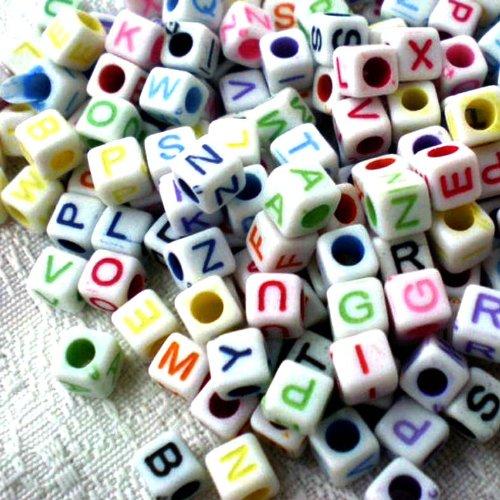 100pcs MIX Acrylic Alphabet Cube Beads 6mmx6mm ~Jewelry Making~