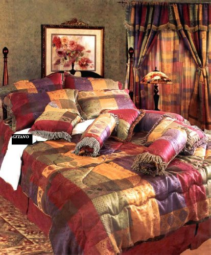 7 Pc Modern Multi Color Jacquard Duvet Cover Set Burgundy, Sage, Gold, Purple-Queen Size Bedding front-105387
