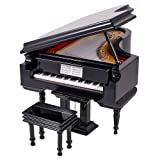 dreamflyingtech 1:12 Dolls House Miniaure Black Grand Piano with Stool and Music Musical Instrument Box Dollhouse