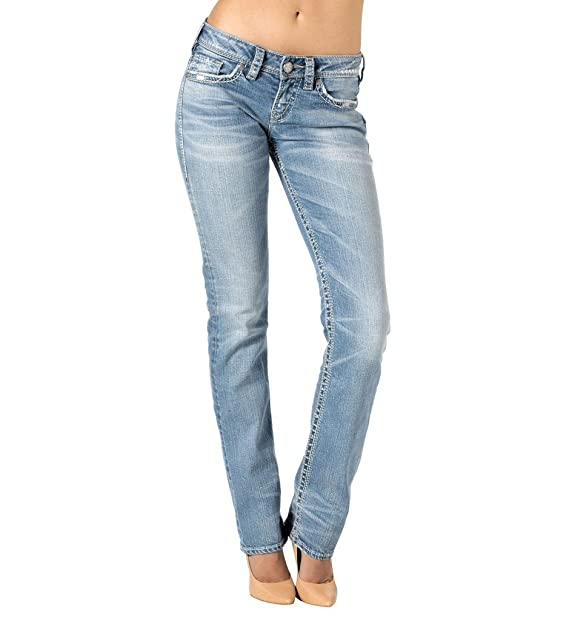 Silver Jeans Women Aiko Low Rise Baby Bootcut Stretch in Med Blue