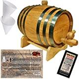 Oak Aging Barrel From American Oak Barrel - Age Your Own Spirits (5 Liter, Natural Oak With Black Hoops)