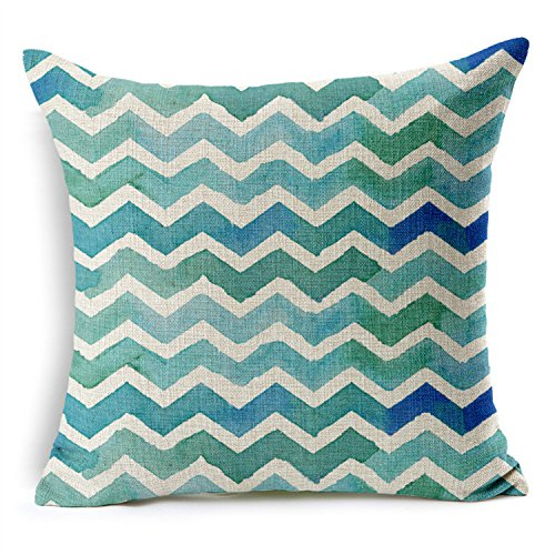 """HomeChoice Cotton Linen Retro Chevron Stripes Durable Home Square Decorative Throw Pillow Cover Accent Cushion Cover Pillow Shell Bed Pillow Case For Car Safa 18 By 18 Inches (18""""X18""""),Blue"""