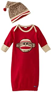 Sozo Baby-boys born Sock Monkey Gown and Cap Set
