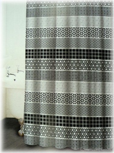 NEW FRENCH Black White GREY PRINT Designer Fabric Bath Shower Curtain