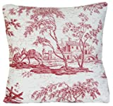 Red French Traditional Design Decorative Throw Pillow Case Toile Cushion Cover Donkey Marvic Textile La Chasse By Peter Afia