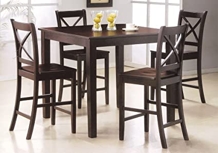 1PerfectChoice Martha 5 Pieces Counter Height Dining Room Set 4 x Chairs Wooden Sleek Espresso