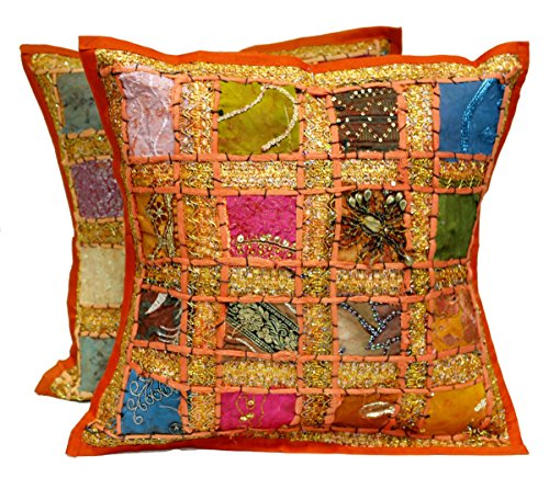 2Stickerei Pailletten Ethnic Patchwork indischen Sari Überwurf Kissen Kissen, baumwolle, Orange, 16 X 16 Inches