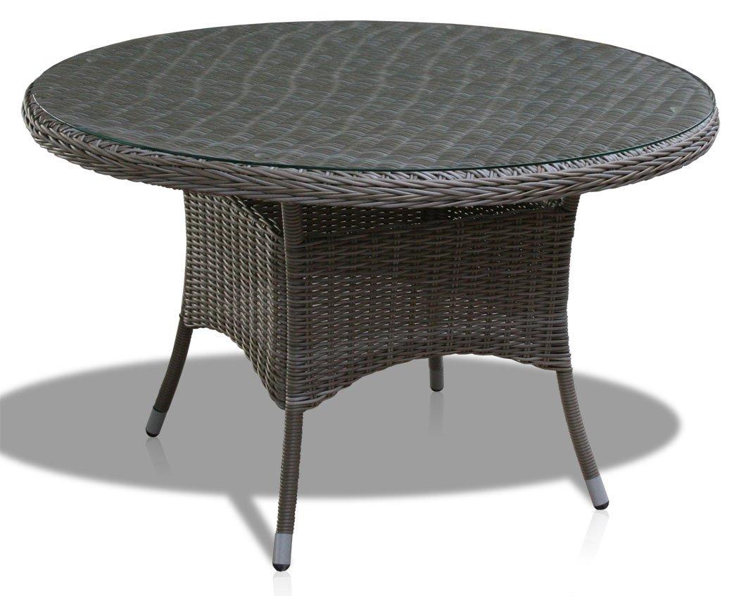 KMH®, Gartentisch mit gläserner Tischplatte aus Polyrattan im Natur-Look (Ø 120cm) (#106096) günstig kaufen