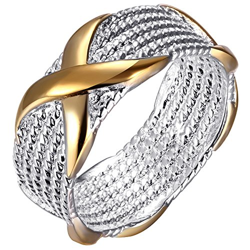 BOHG Jewelry Womens 925 Sterling Silver Plated Wide Fashion X Criss Cross Eternity Ring Wedding Band Gold Size 7 (X Ring Jewelry compare prices)