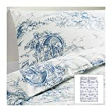 Ikea EMMIE LAND 3pc Queen Duvet-Cover 100-Percent Cotton French Country Toile Blue
