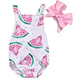 CANIS Baby Girls Watermelons Print Backless Ruffle Bodysuit With Headband (70(3-6M), Pink) (Color: Pink, Tamaño: 70(3-6M))