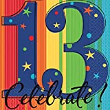 """A Year to Celebrate 13th Birthday Party Stars and Rainbow Beverage Napkins Tableware, Pack of 16, Multi , 5""""x5"""" Paper"""