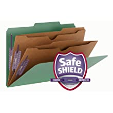 "Smead Pressboard Classification File Folder with Wallet Divider and SafeSHIELD® Fasteners, 2 Dividers, 2"" Expansion, Legal Size, Green, 10 per Box (19083)"
