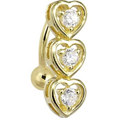 14k Yellow Gold Cubic Zirconia Triplet Heart Belly Ring
