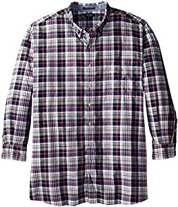 Nautica Men's Big-Tall Plaid Oxford Shirt, Navy Seas, 4X