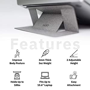 MOFT Laptop Stand, Invisible Lightweight Laptop Computer Stand, Compatible with MacBook, Air, Pro, Tablets and Laptops Up to 15.6, Patented, Jean Grey (Color: Jean Grey)