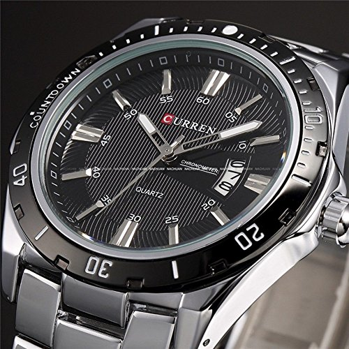 Luxury Curren Brand Full Stainless Steel Analog Display Date Men'S Quartz Watch