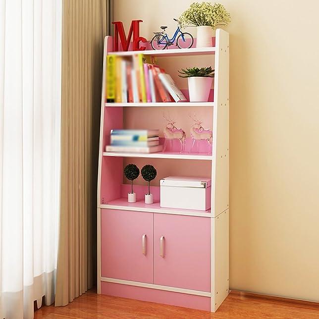 MEIDUO Mensole Libreria In Legno Massello Di Colore Rosa Legno Colore Blu Giallo Doppia Porta 62,4 * 24 * 140cm Soggiorno Mensola molto resistente ( Colore : Rosa )