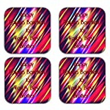 MeSleep Abstract Rakhi Wooden Coaster-Set Of 4