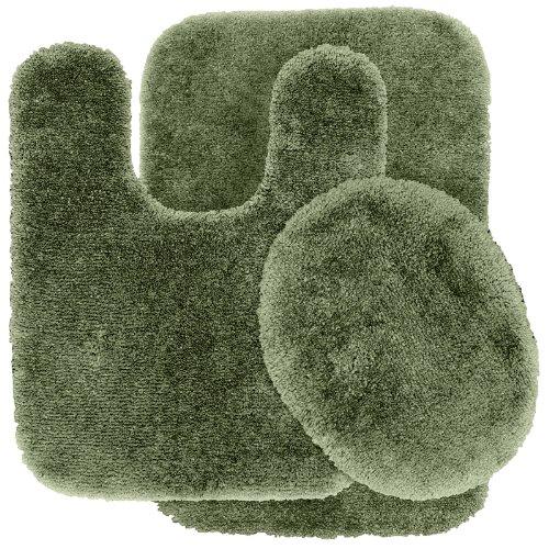 Garland Rug 3-Piece Finest Luxury Ultra Plush Washable Nylon Bathroom Rug Set, Deep Fern front-702350