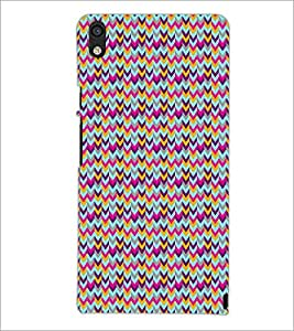 PrintDhaba ZigZag Pattern D-5909 Back Case Cover for HUAWEI ASCEND P6 (Multi-Coloured)