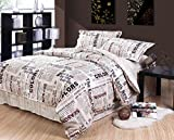 Luk Oil Home Textile,Fashion Western Style English Newspaper Bedding Set Modern European Male Duvet Covers Personality Design Bedding Sets Queen Size, 4Pcs