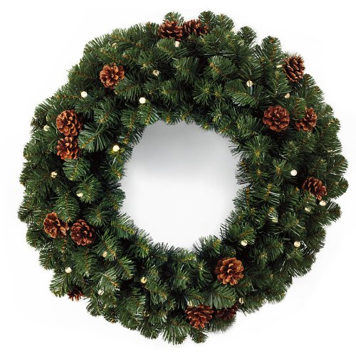 Cordless LED Pre-lit Oregon Fir Christmas Wreath