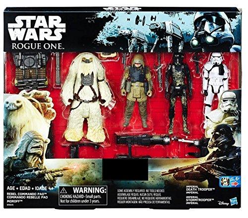 Star Wars Coquin Un Exclusif Figurine D'Action Paquet De 4 comprend : Rebel Commando Pao, Moroff, Impérial Mort Trooper et impérial Stormtrooper