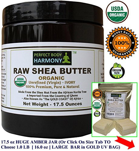 CERTIFIED ORGANIC Raw Shea Butter *Huge 17.5 oz X-LARGE UV AMBER BPA Free JAR! AUTHENTIC Organic African 100% Premium TOP Quality Unrefined IVORY. Best Natural Noncomedogenic Skin & Face Moisturizer!