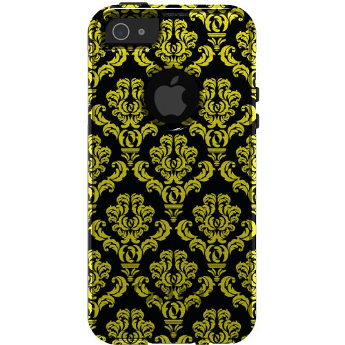 Special Sale CUSTOM OtterBox Commuter Series Case for iPhone 5 5S - Damask Pattern (Black & Yellow)