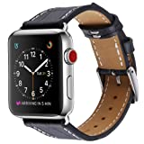 Palestrapro Replacement Band Compatible with Apple Watch Band 42mm, Crocodile Patterned Genuine Black Leather with Stainless Metal Clasp. iPhone Watch Strap for Series 3,2,1 for Men (Black,42mm) (Color: Black, Tamaño: 42 mm)