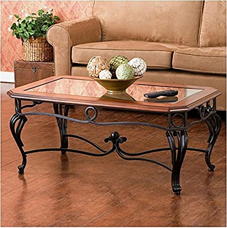 Upton Home Prentice Rectangle Black And Brown Cocktail Table