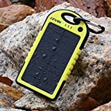 LevinTM Solar Charger 5000mAh Rain-resistant and Dirt/Shockproof Dual USB Port Portable Charger Backup External Battery Power Pack for iPhone 6 Plus 5S 5C 5 4S 4, iPad Air Mini, iPods(Apple Adapters not Included), Samsung Galaxy S5 S4 S3,Note 4 3 2, Nexus, HTC, Android Phones,Windows phone, Bluetooth Speakers, MP3, Tablets and Other Devices (Yellow)