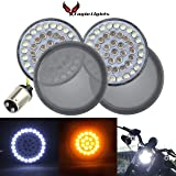 "Eagle Lights Harley 2"" LED Turn Signals w/Running Light Bullet Style Kit for Harley Davidson - (2) Front Turn Signals and (2) Smoked Lenses (Add Smoked Lenses) (Color: Add Smoked Lenses, Tamaño: Front Turn Signals (1157))"