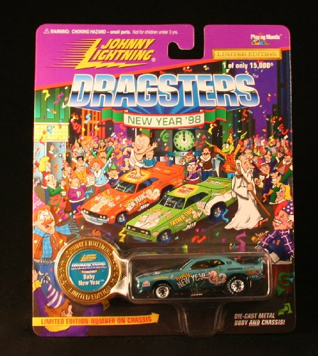 BABY NEW YEAR * BLUE * Johnny Lightning DRAGSTERS NEW YEAR '98 Limited Edition Die Cast Vehicle * 1 of only 15,000 *