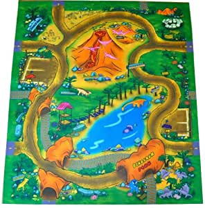 Silli Me Dinosaur Felt Play Mat with Roads and Train Track Design
