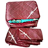 Indi Bargain Maroon 3 Layered Quilted Printed Transparent Multi Saree Cover (10-15 Sarees Capacity) - Set of 3