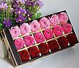 【ELEEJE】女性への プレゼント へ 枯れない 花 ブリザードフラワー 風 クリスマス 誕生日 記念日 (18個入り 赤三色)