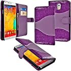 myLife Two-Way Purple {Classy Design} Faux Leather (Card, Cash and ID Holder + Magnetic Closing) Slim Wallet for Galaxy Note 3 Smartphone by Samsung (External Textured Synthetic Leather with Magnetic Clip + Internal Secure Snap In Closure Hard Rubberized Bumper Holder)