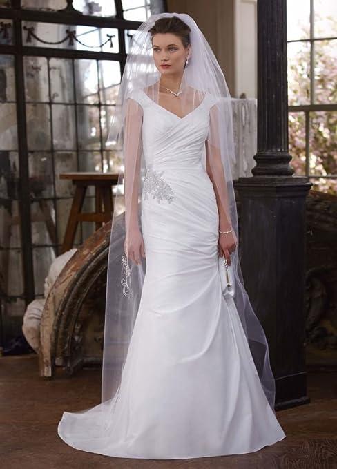David's Bridal Women's Off The Shoulder Taffeta Dress with Beaded